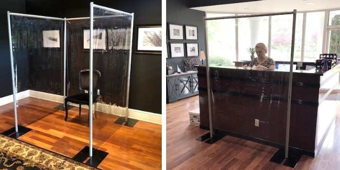 Create a sneeze guard divider between employees, or employees and customers, or between customers with our clear Vinyl isolation kits.