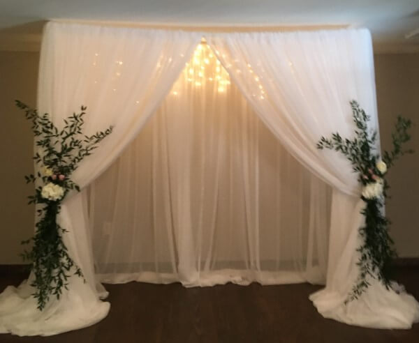 Beautiful double layer Sheer Voile pipe and drape backdrop