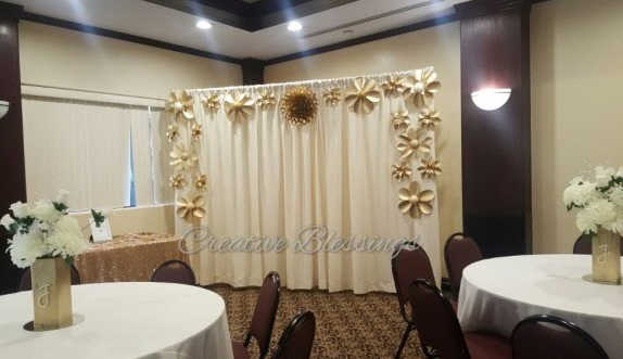 Back drop with Premier drapes in Ivory
