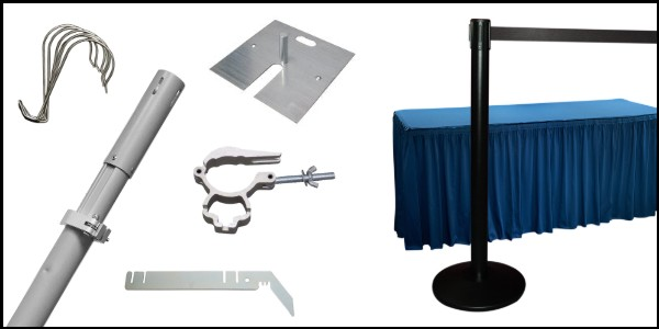 Replacement parts and accessories for church backdrops, including Upright Pipes, Crossbars, spare Drapes, and more.