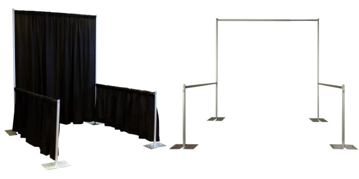 A pipe and drape trade show booth can have a wide variety of heights, widths, and depths for maximum versatility. Some trade show booth options are rigid and unable to be customized to your exact needs, but with pipe and drape, your exhibitor space can be whatever dimensions you would like.