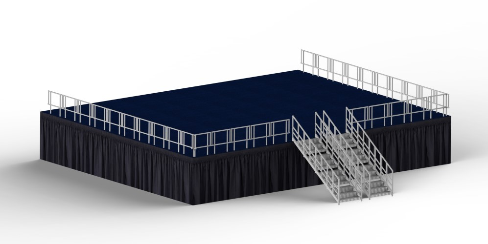 Custom Fabric Stage Skirting in Shirred or Box Pleats