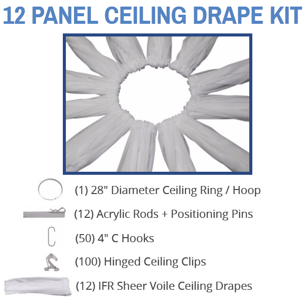 Wedding Ceiling Draping Kit Sheer Swags In 17 Colors