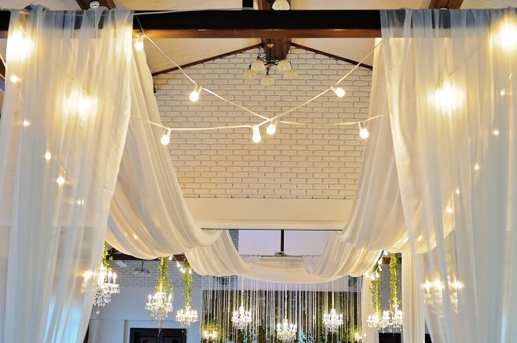 21 foot long sheer ceiling drapes 4 panels