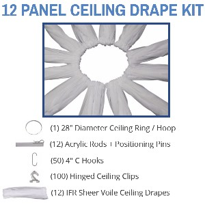 12 Panel 40 Foot Sheer Voile Ceiling Drape Kit - Covers Up To 82 Feet