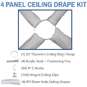 4 Panel 30 Foot Sheer Voile Ceiling Drape Kit - Covers Up To 62 Feet