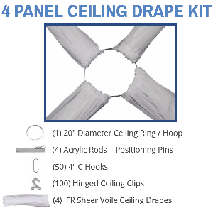 4 Panel 21 Foot Sheer Voile Ceiling Drape Kit - Covers Up to 44 Feet