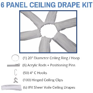 6 Panel 21 Foot Sheer Voile Ceiling Drape Kit - Covers Up To 44 Feet