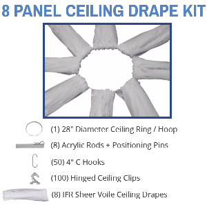8 Panel 40 Foot Sheer Voile Ceiling Drape Kit - Covers Up To 82 Feet