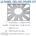 12 Panel 30 Foot Sheer Voile Ceiling Drape Kit - Covers Up To 62 Feet