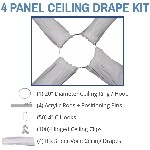 4 Panel 40 Foot Sheer Voile Ceiling Drape Kit - Covers Up To 82 Feet