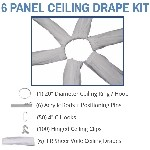 6 Panel 40 Foot Sheer Voile Ceiling Drape Kit - Covers Up To 82 Feet