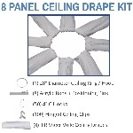 8 Panel 30 Foot Sheer Voile Ceiling Drape Kit - Covers Up To 62 Feet