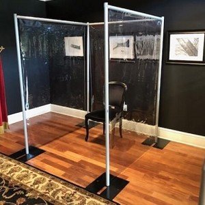 Three Sided 6 1/2 Foot Tall x 54 Inch Wide Portable Sneeze Guard Booth