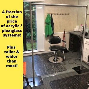 6 1/2 Foot Tall x 54 Inch Wide Portable Sneeze Guard / Isolation Divider with Clear Vinyl Panel